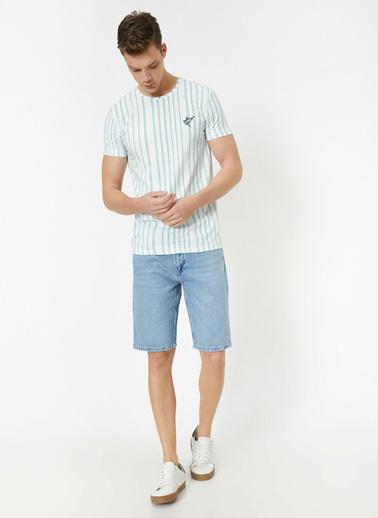 Koton Cep Detaylı Jean Şort Mavi